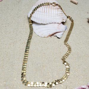 """Vintage Hong Kong mesh Gold Chain necklace 18"""""""